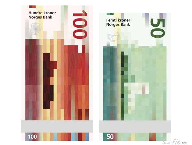 这不是马赛克哦 挪威的新鈔票設計!好酷