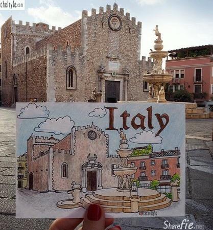 女孩用笔画出旅途美景 比起拍照简直太强大了!