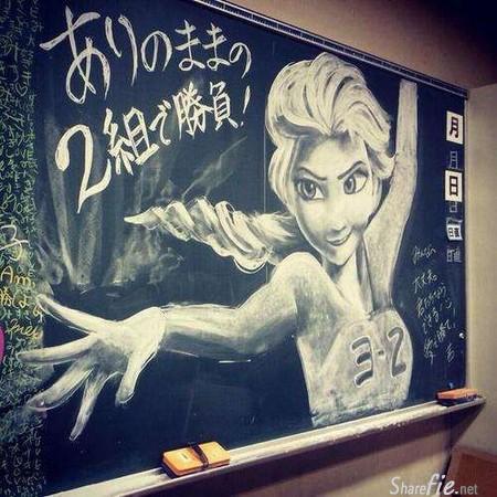 日本学生竟然把教室里的黑板当画板。。画出了一幅幅让老师惊叹的专业画作。
