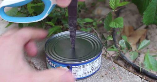 他在Tuna罐子中间开了一个洞,接下来他要做一样让你觉得非常神奇的事哦