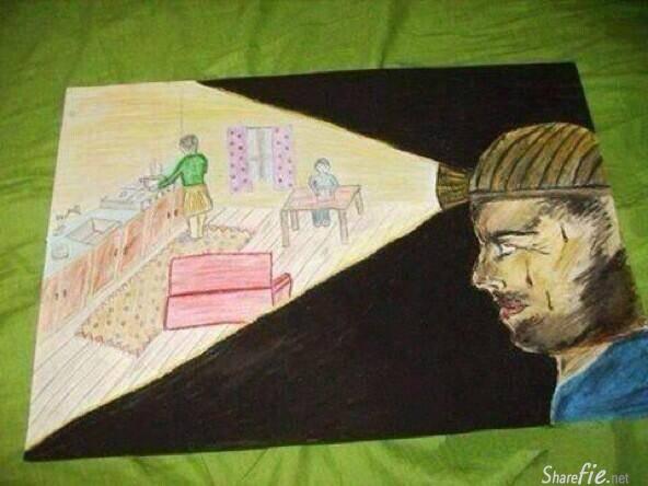 一副由矿井工人的孩子创作的画, 看完泪奔