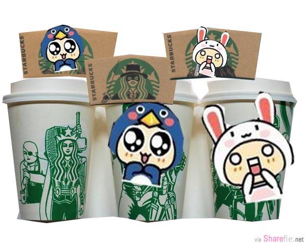 网友发挥创意大搞星巴克Starbucks的标志LOGO 美人鱼头像,改成了有趣的流行经典人物