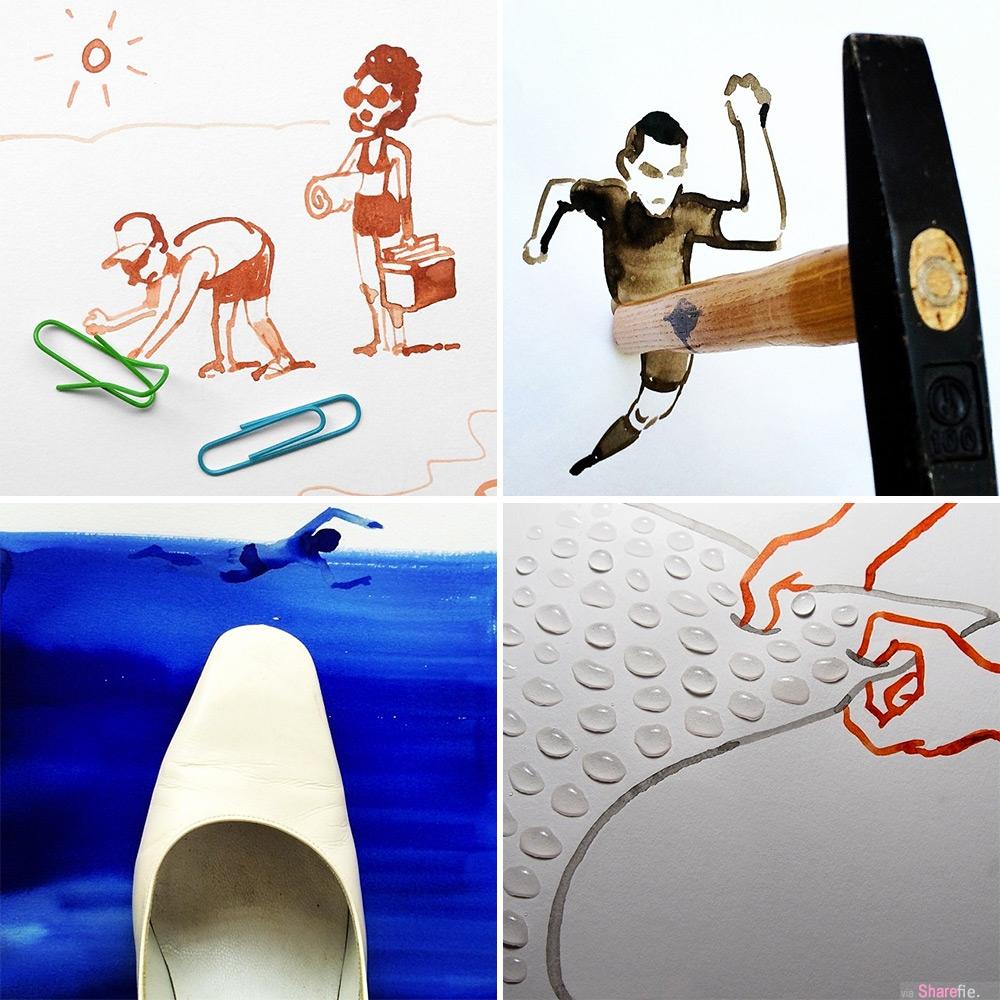 又一组利用真实物体搭配画出了有趣的插画