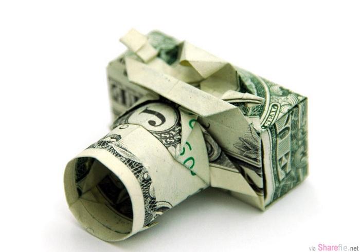 教你如何用一美元紙幣摺出紙相機