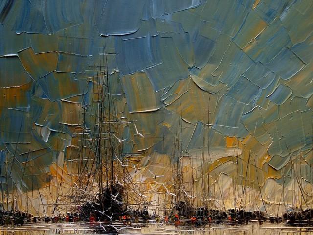 9副船舶油画作品,原来油画也可以呈现出这么立体的色彩效果