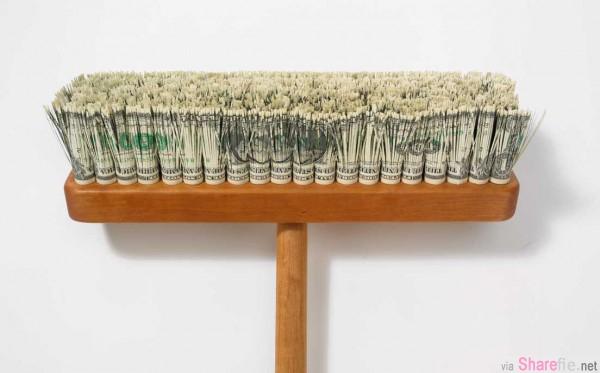 这位艺术家用一美元纸币剪裁拼贴出一幅栩栩如生的肖像画