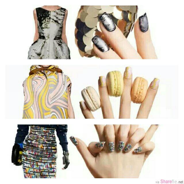 教你印花,马卡龙条纹与金属质感美甲彩绘,優雅又带点時尚感
