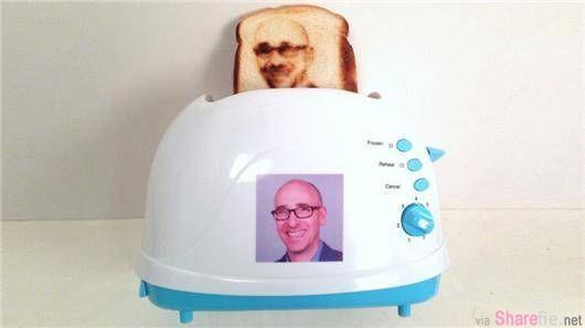 这款烤面包机有个超酷的独一无二功能,可以烤印出你自己的头像