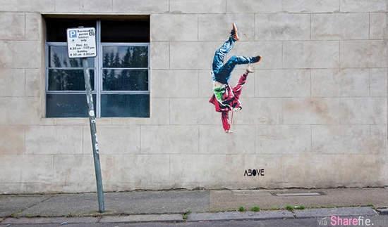 这些街头涂鸦看起来就好象是没完成的作品,但到了特定的時間,所有经过的路人都觉得这些画非常有趣