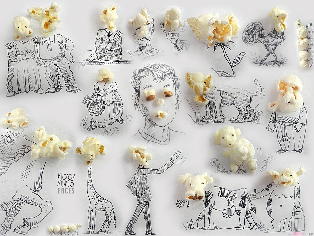 爆米花也能作画,发挥无限的想象力,把这些东西加工成有趣的漫画