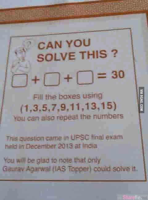 这数学题,你能解吗?。。看起来好简单,怎么算都没有答案