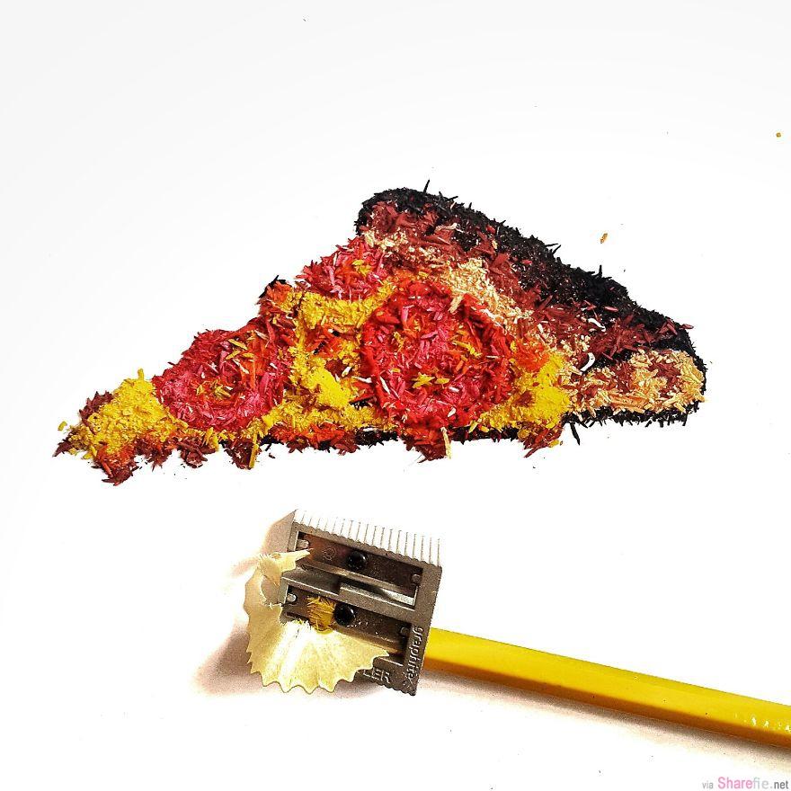 16张丢弃的笔屑也可以拿来堆积成创意画作。