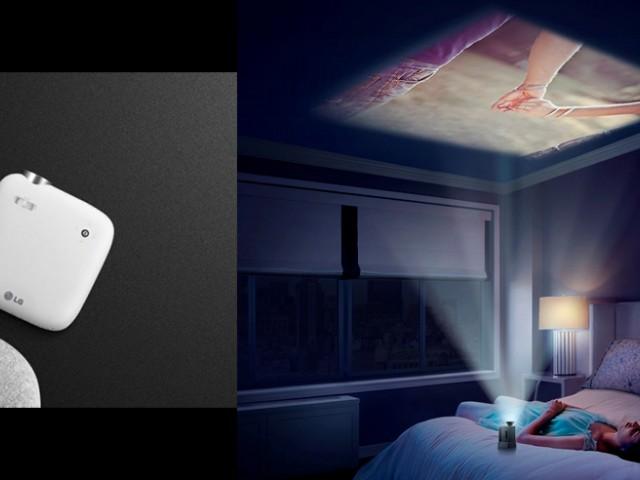 投影机越来越小,带着旅行在酒店就可以马上欣赏大尺寸照片,还可以躺在床上用天花板来看电影咯