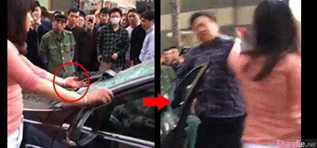 这名女子疑似老公外遇当街砸车镜撕玻璃,当老公从车里被逼出来,女子用沾血的手一巴掌扫下去