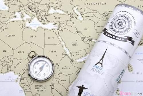 《世界地圖刮刮券》每到過一個國家就刮掉一次