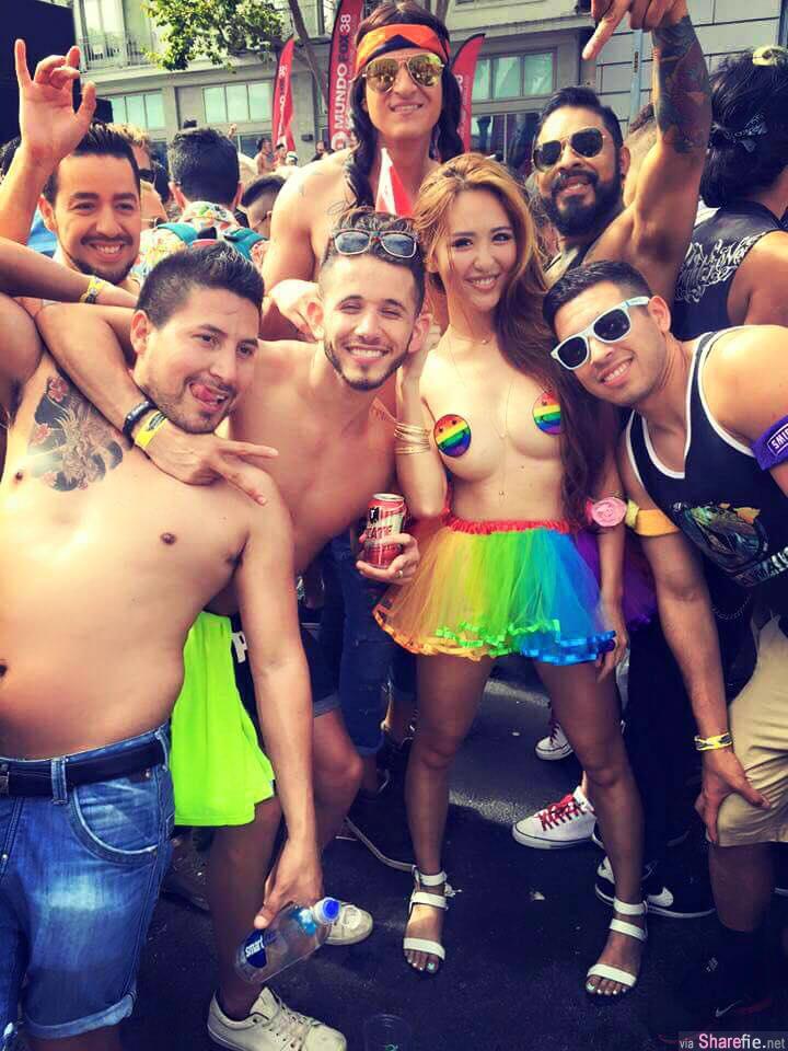 慶祝美國同志婚姻合法正妹林恩伶(柴犬)大秀彩虹胸貼照