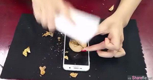 男買三星手機模仿廣告片砸核桃 結果屏幕真碎了…