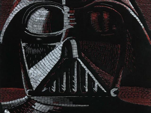 这幅画是用了77886个订书钉拼凑而成的Star wars 人物