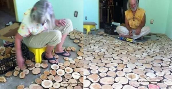 老人把木樁切成一塊一塊鋪在地上,想不到最後竟然這樣……!太神奇了