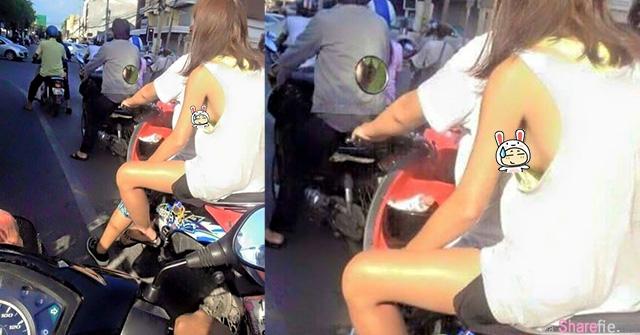「从侧面看有亮点?!」乡民偶遇辣妹坐机车超犯规:她根本无罩驾驶!