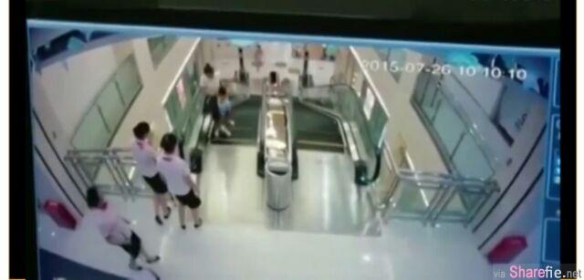 悲剧~Final Destination 死神来了电影情节真实上演!母子为救儿子遭捲入扶手电梯里