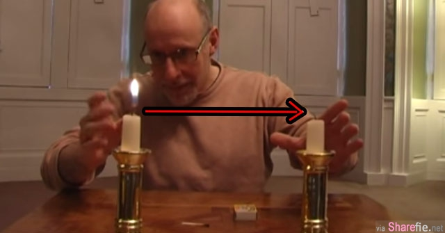 大叔挑战魔术 把蜡烛火苗移到另一根蜡烛上 他是怎么办到的? 大叔:忍者术!!