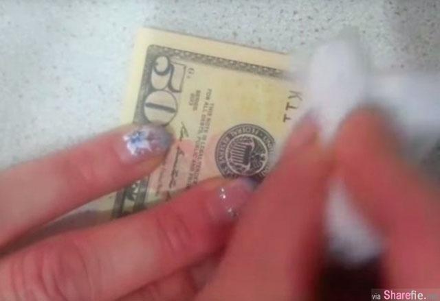 女子用酒精一直擦拭一张50美元钞票,没想到过没多久钞票竟然瞬间变成...背后的技艺让我都吓傻了