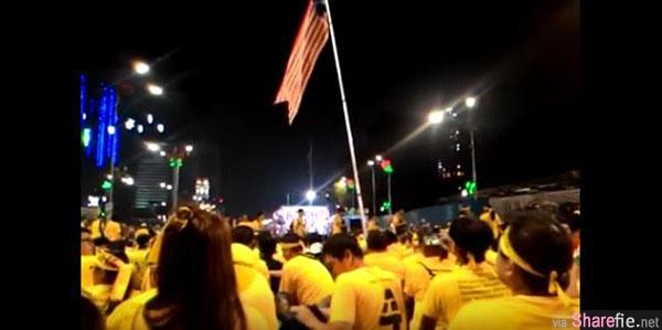 大马 BERSIH 4.0 净选盟集会 几十万人集体合唱 Beyond 《海阔天空》 场面感人