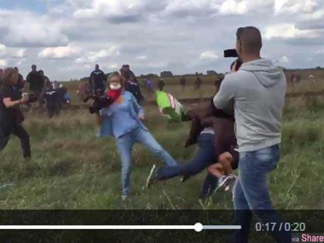 一名匈牙利女记者竟然出脚绊倒逃跑中难民 引发公愤