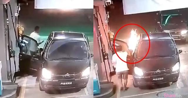 轿车添油没关引擎,油枪竟然中途起火燃烧 ..太惊险了!【附影片】