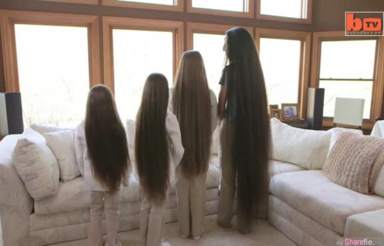 妈妈和3个女儿站一排秀长发,现在看看她们转身的那一瞬间吧!
