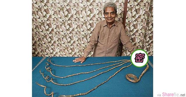 这名78岁印度老翁把他打破世界纪录的战利品摆在桌上 开始以为是什么艺术品 直到发现他的左手竟然.....