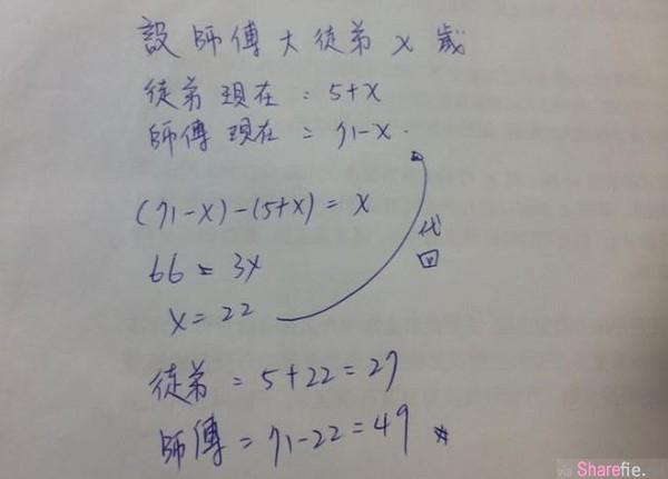 「我在你这年纪时你才5岁」求解师徒二人岁数 ,小六数学考倒大人