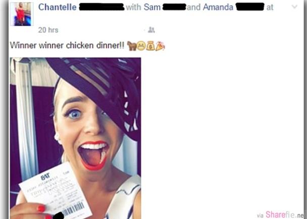 这名澳洲女子上传了一张赢马彩券,结果奖金惨遭朋友盗提