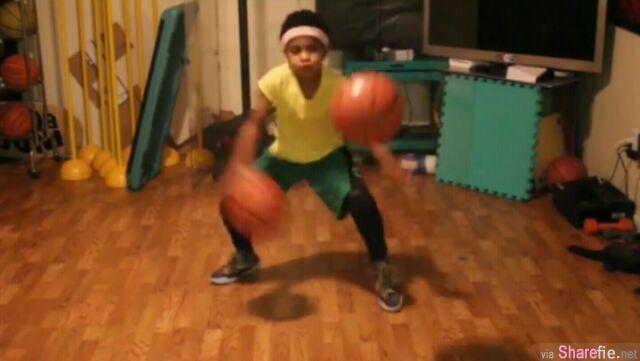 这名9岁女孩想打篮球,给了她两粒蓝球后,连NBA球员都看傻眼了