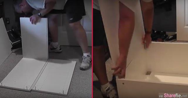 他从IKEA买了7个橱柜,之后竟然组装成拥有橱柜还有阶梯的双人大床 看完后有神快拜啊