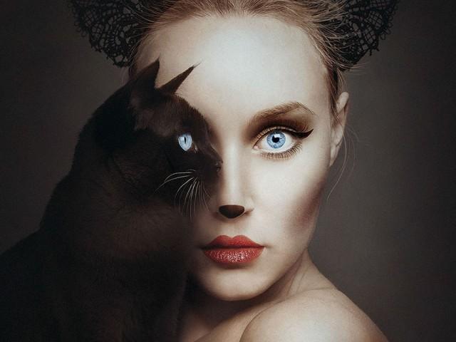 这名艺术家把其他生物的一只眼代替自己的右眼!弥漫着诡异的重叠效果
