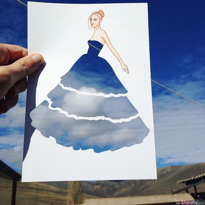 他只用了这样简单的花招,就创造了一件件令人惊叹的服装插画