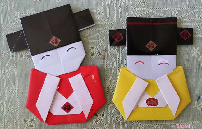 快把这款可爱的「小财神」摺纸学起来,摆几尊在家里,保证来临的新年让你财源滚滚来!
