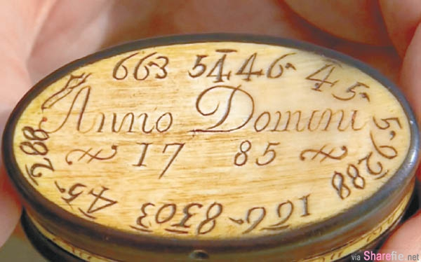 这个拥有231年历史的化妆盒面上刻有一连串不明数字 被解出来的暗语原来是...