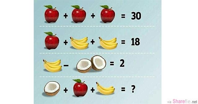 又是水果数学题! 这道引起网友们争论不休的数学题,你知道答案吗?网友:我10秒就算出答案