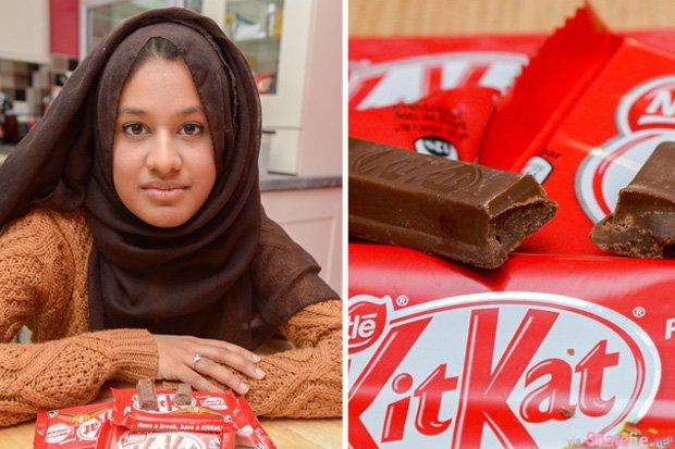 她吃到了一条里面没有威化夹心饼的Kitkat巧克力 于是她写信给厂商做了一个无理的要求..