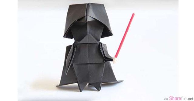 45分钟完整摺纸教学 超可爱的黑武士