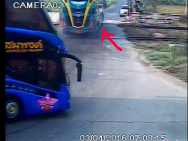 火车就这样直直撞上停在轨道上的旅巴  看到监视器拍下的那刻心跳瞬间停顿