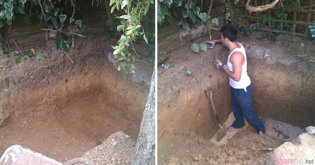 这名男子在后院中挖了一个大坑,最后做出来的东西让大家羡慕不已