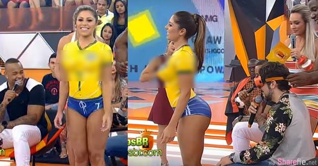 巴西节目找来辣妹让男嘉宾猜人体彩绘 很多人都猜不到这辣妹是有穿没穿