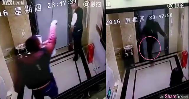 电梯迟迟不来 他用脚勐力把电梯门踹开  没想到下一秒尝到了惨痛的教训