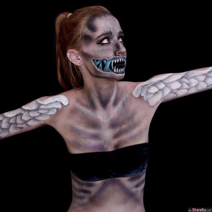 这名16岁女孩自学特效化妆 逼真的牙齿吓坏网友