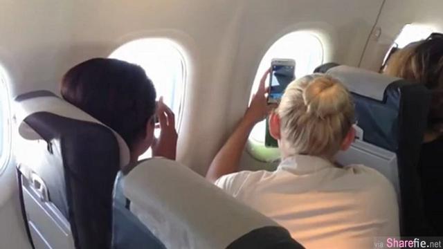 """她在飞机上靠窗的位置玩自拍,没想到下一秒居然拍到机翼上有生物在""""动""""…太离奇了"""