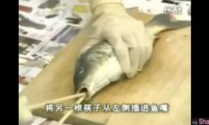 她插了一根筷子进鱼的嘴巴里,接着又再插多一根...当他拔出来后大家都傻眼了